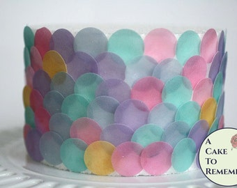 "Mermaid party decorations, 160  1"" wafer paper dots. For under the sea parties to make fish scales and mermaid cake decorations"