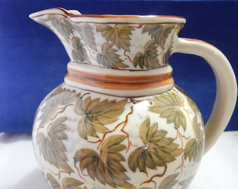 """Vintage Leaf Pattern Water Pitcher Made in Thailand  Measures 6.25"""" X 6"""""""