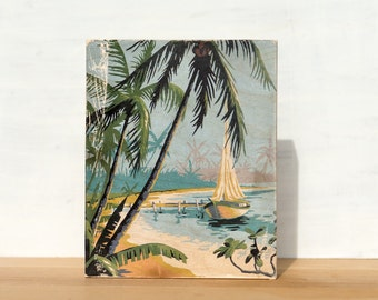 """Paint by Number 'Tropical Sailing' Large Art Block -  8"""" x 10"""", vintage art, beach scene, palm trees, sailboat"""