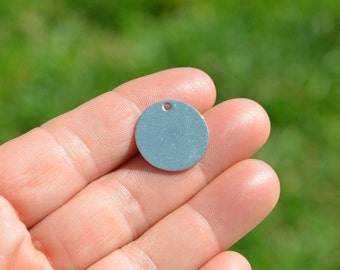 10 Stainless Steel Blank Disc 20mm Charms EB10