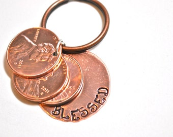 Hand Stamped Lucky Blessed Copper Penny keychain with years of pennies