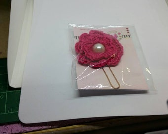 HandKrafted Crochet Flower Paperclip Page Marker - Dark Pink with pearl