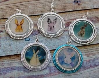 Bunny Necklace-Bunny Pendant-Easter Necklace-Easter Gift-Easter Basket Filler-Mother & Child Necklace-Easter Bunny-Girls Gift-Bunny Rabbit
