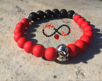 Red and Black. Handmade bracelet made with lava stones. Christmas edition.