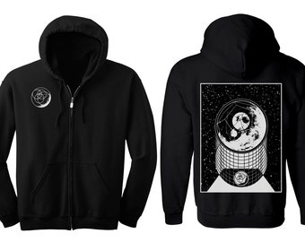 ALPHA MOON Hoodie Men's and Women's Geometric Moon Black Hooded Sweatshirt Sacred Geometry