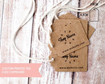 Custom printed brown kraft card stock small tag printing one sided with your logo and website