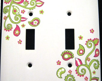 Hot Pink & Lime Green Paisley Design DOUBLE - METAL Switchplate Cover - Hand Painted