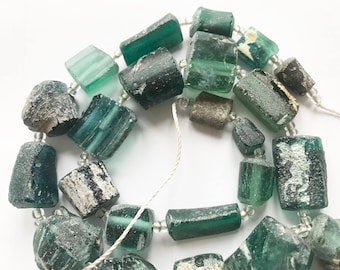 Genuine Ancient Roman Glass  Green Cylindrical Fragment Beads  With Extreme Old Patina 1500-2000 Yrs Old