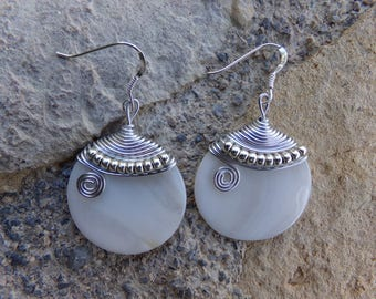 "Earrings natural pearl earrings, ceremony, wedding, Silver Aluminum wire, silver hooks ""full moon"""