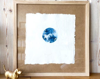 "Original Art ""Full Moon"" -  Watercolour painting with gold leaf highlights in wood frame"
