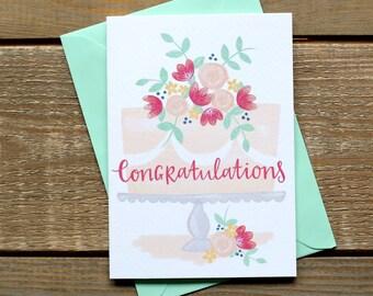 Celebration Cake Hand Illustrated Congratulations Card