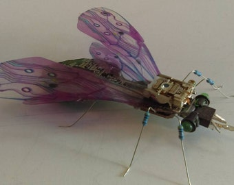 Recycled electronic art fly sculpture handmade