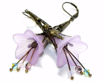 Lilac Lucite Trumpet Flower Earrings - Victorian Lavender Lily - Brass Filigree Cone - Swarovski crystals