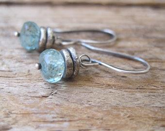 Apatite Silver Nugget Earrings, Aqua Apatite Earrings, Handmade Silver Nugget Earrings, Blue Gemstone Earrings