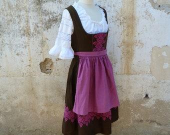 Vintage 1970/70s Tyrol Austria October fest dirndl dress embroidered + white cotton blouse + apron size S