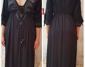 Rayon long dress with embroidery