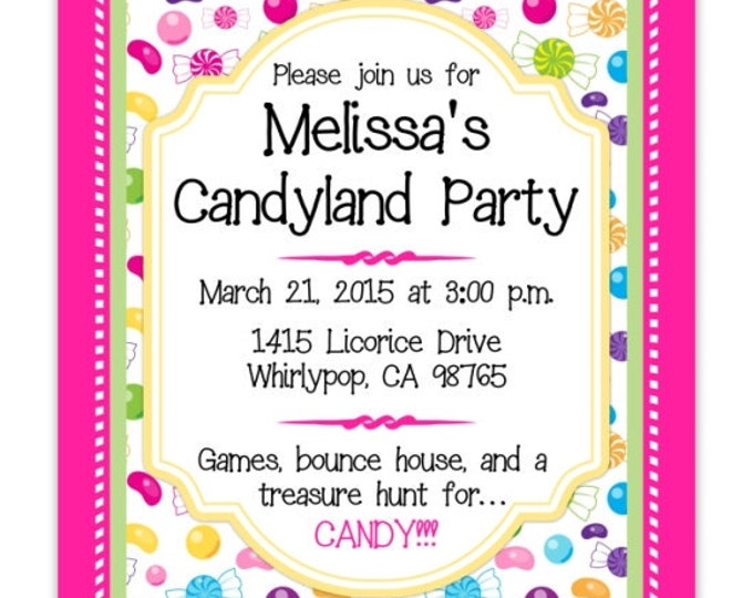 Candy land Party Birthday Invitation, Candy Birthday, Digital Design, CUSTOM 4x6 or 5x7 size, YOU print