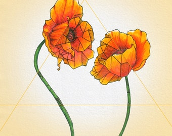 Geometric Poppies Print
