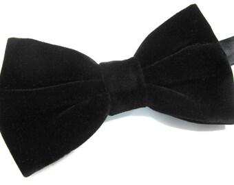 Mens Bowtie. Black Velvet Bowtie With Matching Pocket Square