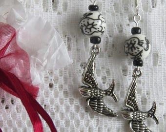 Earrings silver bird & flight