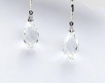 Clear Swarovski Crystal Briolette and Sterling Earrings