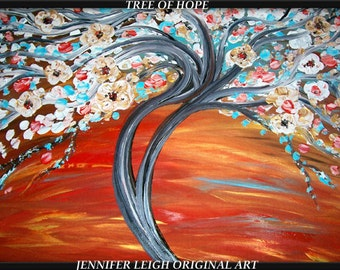 Original Large Abstract Painting Modern Contemporary Canvas Art Blue Orange White Tree Flower Blossoms Texture Oil J.LEIGH