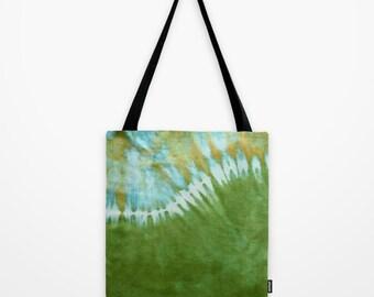 Tote Bag-Tie Dye Tote-Shoulder Bag-Green Wave-Hippie Bag- 13x13, 16x16, or 18x18-Lined, pockets, adjustable strap