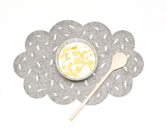 Set  Placemats / Cloud Placemat /  Nursery Placemats / Gray mat table