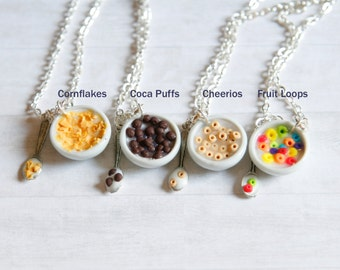 Cereal bowl necklace, cheerios, fruit loops, cornflakes, cocoa puffs, milk miniature food jewelry