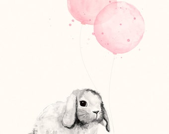 Watercolour Nursery Art Print of Bunny and Balloons in Light Pink - 8x10 / A4 size