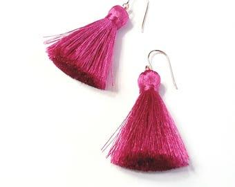 Pink tassel earrings Rose gold tassel earring Tassel earrings Boho tassel earrings Pink dangle earring Bridesmaid earrings Boho wedding