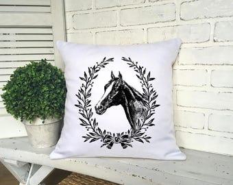 DECORATIVE EQUESTRIAN PILLOW,Horse Lover Pillow,Horse Pillow,Equestrian Decorating,Horse Name Pillow,