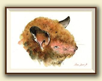 Daubenton's bat (Myotis daubentonii)  -Bat art -  Original watercolor painting- Juan Bosco