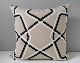 Geometric Outdoor Pillow Cover, Decorative Black White Pillow Cover, Modern Throw Pillow Cover, Masculine Beige Sunbrella Cushion Cover