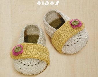 Ballerina Flats Baby Booties Preemie Ballerina Newborn Flower Shoes Crochet Pattern & Flower Applique (BF01-W-PAT)