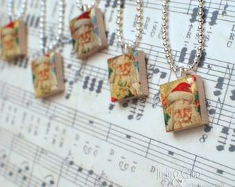 Jolly Old St. Nick Scrabble Necklace, Handmade Scrabble Tile Art Pendant, St. Nicholas, Santa Claus Wood Tile Pendant, Tiny Stocking Stuffer