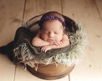 Flower Halo, Newborn Baby Headband, Newborn Photo Prop, Flower Tieback, Newborn Tieback, Baby Girl Headband, Baby Picture Prop
