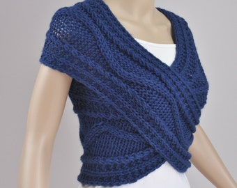 Hand knit woman sweater Cross Sweater vest Capelet Neck warmer Denim Blue