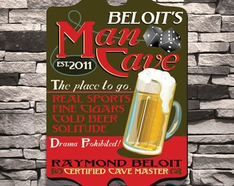 Personalized Man Cave Sign - Man Cave Tavern Sign - Vintage Man Cave Art - GC298