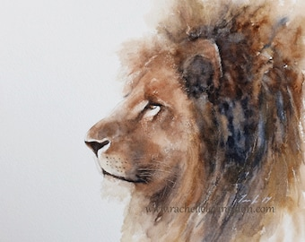 for him lion painting of lion print watercolor painting african wall hanging african modern minimalist art nursery art print of lion 11x14