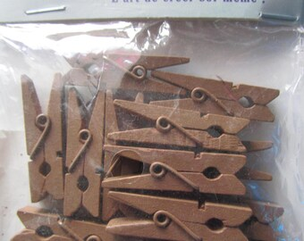 set of 12 pins, chocolate-colored wooden clothespins - 3.5 cm