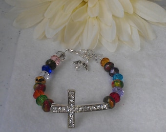 Bracelet, crystal cross multicolor