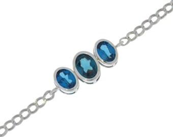 3.5 Carat London Blue Topaz Oval Bezel Bracelet .925 Sterling Silver Rhodium Finish