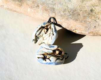 2 charms - handmade ceramic clay supply for earrings - pale blue romantic tribal pendants