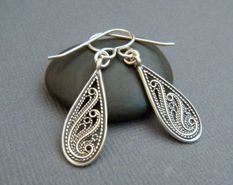 small sterling silver teardrop earrings rustic filigree jewelry leverback dangle spiral swirl lever back drop simple everyday gift for her