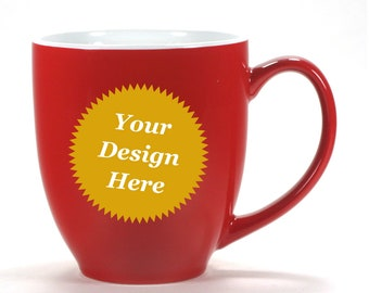 CUSTOM RED Mug, White Inside Coffee Cup - Choose your etched design