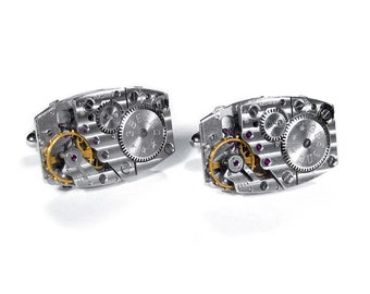 Steampunk Jewelry, Mens Watch Cufflinks RUSSIAN PINSTRIPE Movement, Fiancee, Wedding Anniversary Groom Holiday Gift - Jewelry by edmdesigns