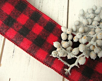 Fuzzy Red and Black Buffalo Check Wired Ribbon