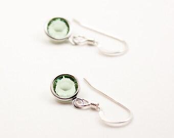 Small Earrings, Peridot Crystal Earrings, Girl Earrings, Light Green Earrings, August Birthstone, Sterling Silver Earwires