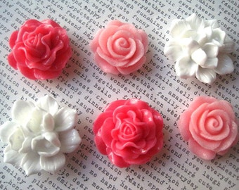Large Flower Magnets, 6 pc Refrigerator Magnets, Pink and White, Fridge Magnet, Housewarming Gifts, Wedding Favors, Locker Magnets